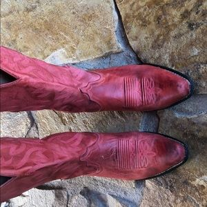 Nocona red leather cowboy boots - size 8